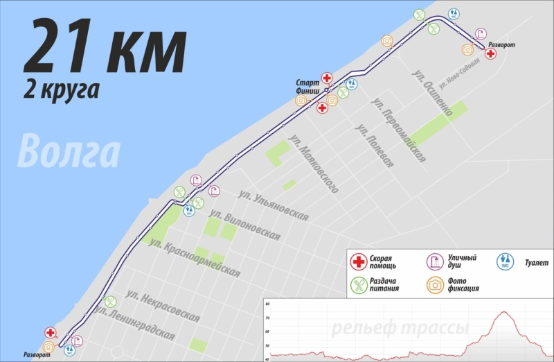 Маршрут забега 21 км.